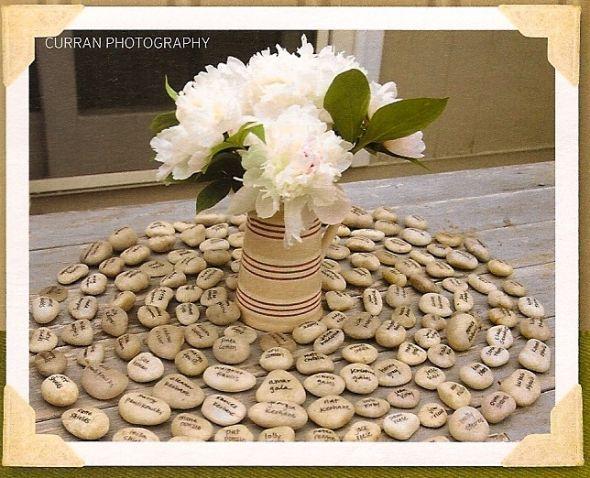 unique placecard ideas wedding seating stones 2