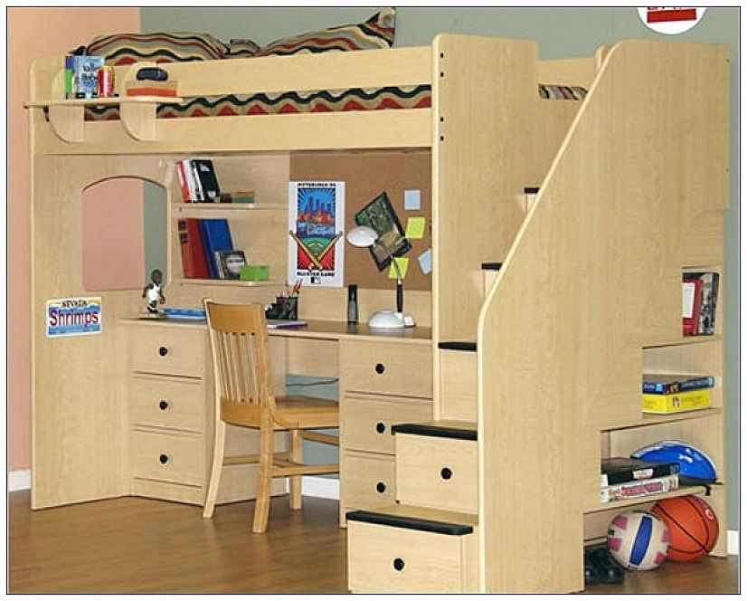 full size loft beds with desk furniture for the home pinterest rh pinterest com Full Size Loft Bed Plans Full Size Loft Bed with Desk Underneath