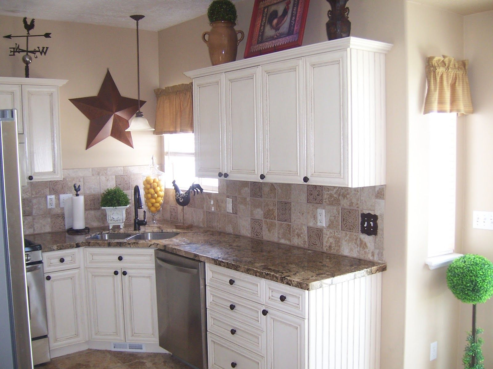 white cabinets with laminate countertops