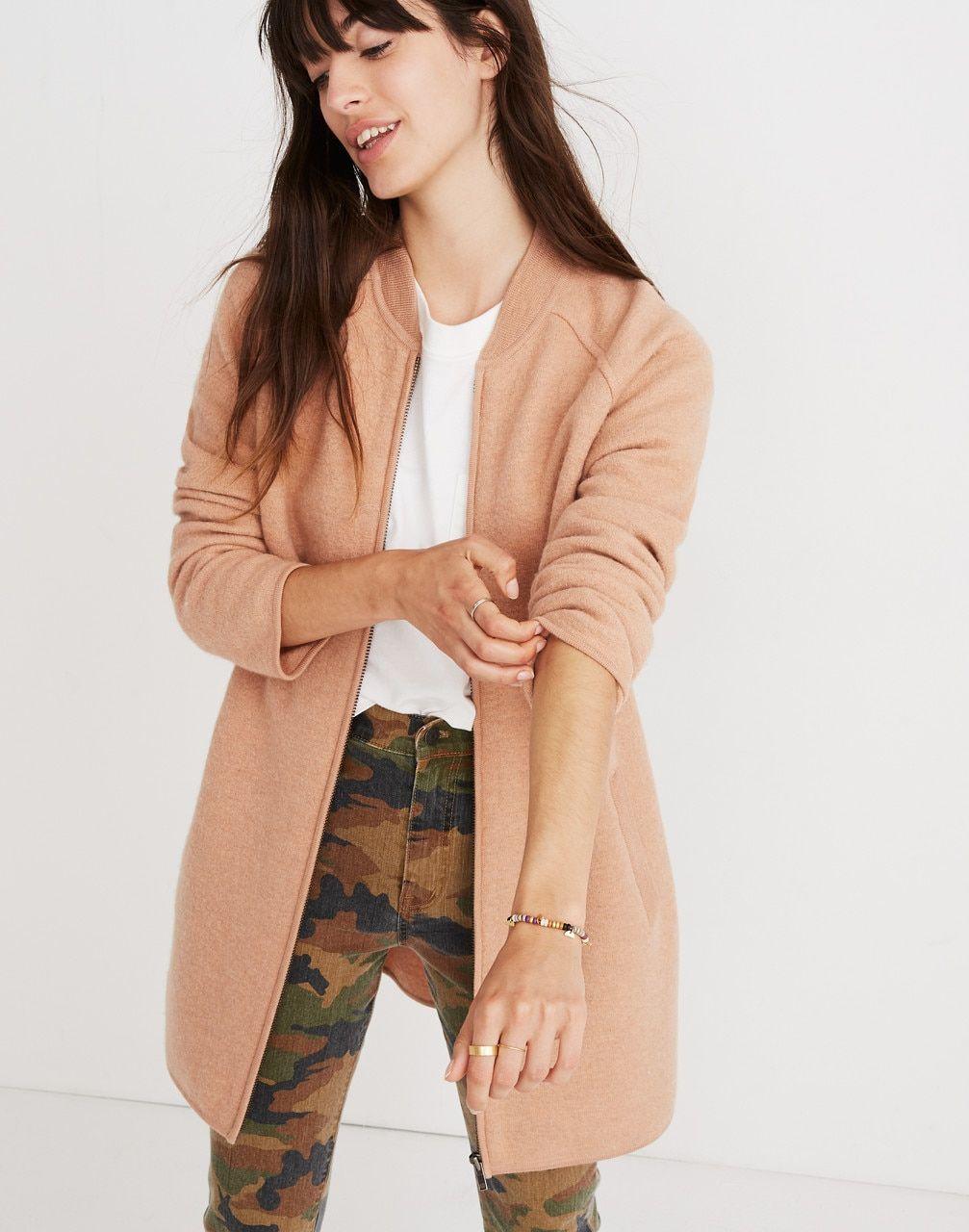 c78e70b518a1b Madewell Womens Bomber Sweater-Jacket | fashion | Sweater jacket ...
