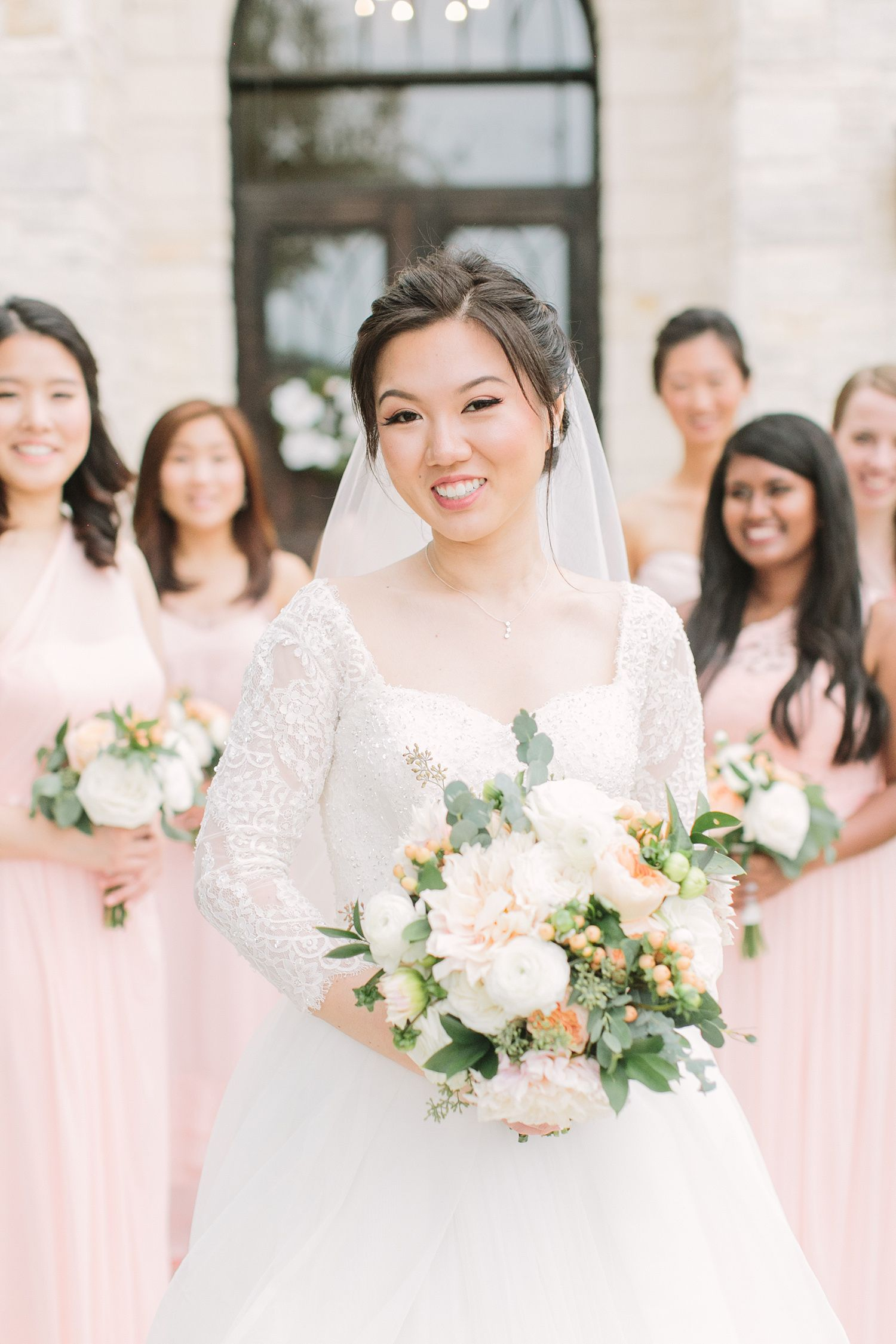 Bridal Bouquet Updo Lace Sleeves Blue Pink Gold Peach Wedding At Briscoe Manor Bridal Beauty Bright Wedding Peach Wedding