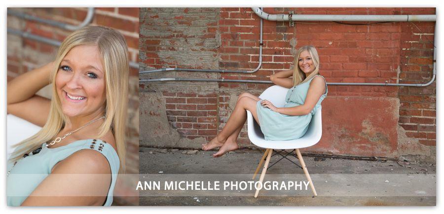 Fun Senior Girl pose on vintage chair outside