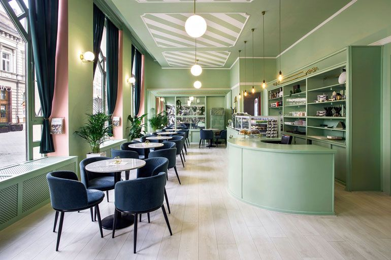 Kissmiklos Decorates Gard Ann Hungarian Cafe With Sugar Sweet Pastels Modern Interior Design Interior Design Interior