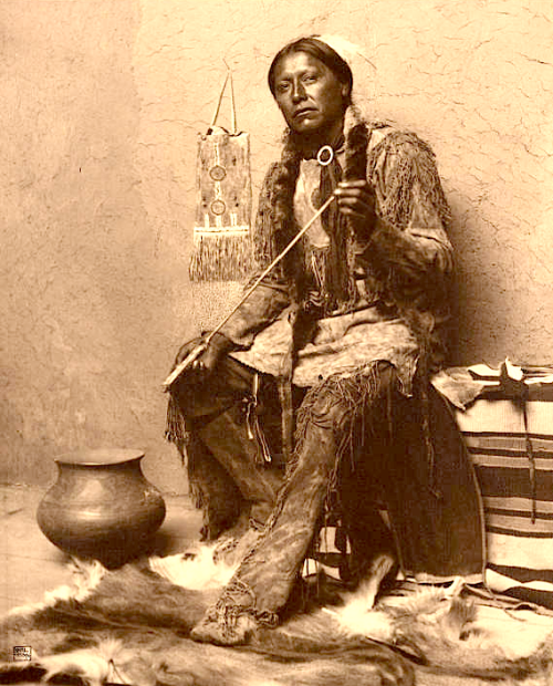 Carl Moon  |  Arrow-maker, Taos Pueblo, New Mexico  |  c. 1904-1907  |  Source: Huntington Digital Library