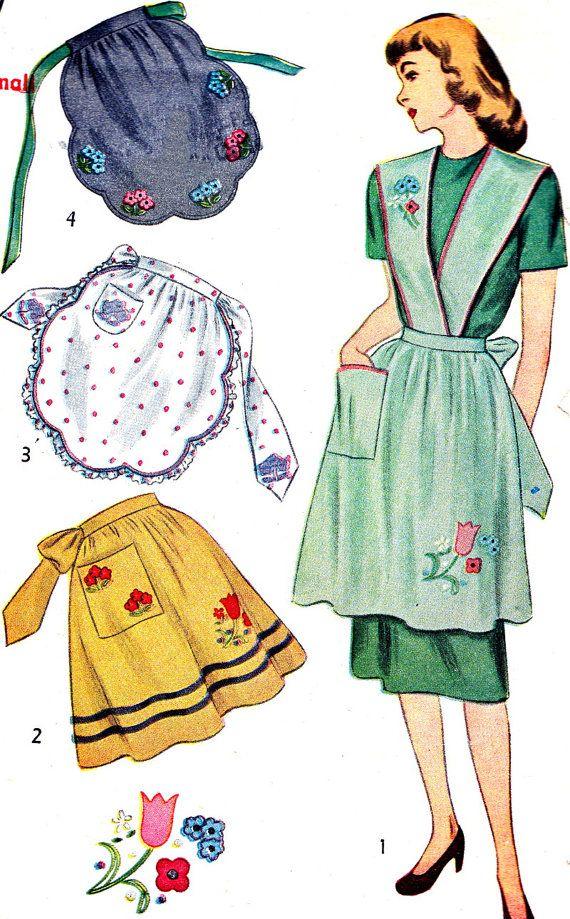 1940s Apron Pattern Simplicity 1837 Full Apron Hostess Apron Half ...