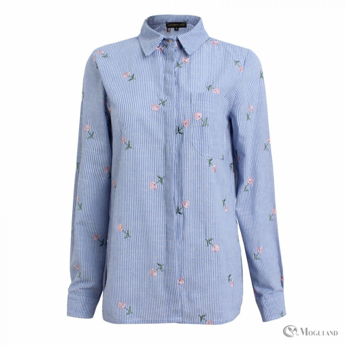 Tloowy Womens Tie Front Knot Denim Tops Shirts Rose Embroidery Button-Down  T-Shirt