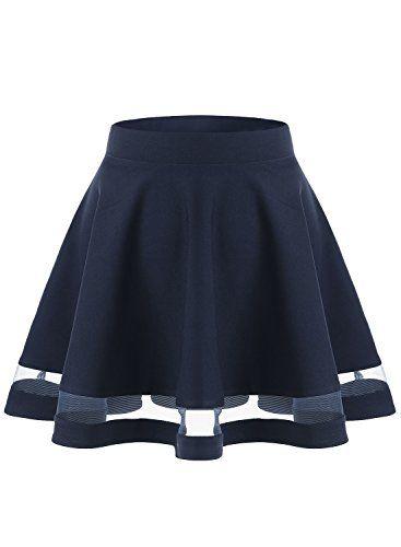 d722d48798019 Wedtrend Jupe mini courte évasée Rétro Jupe Basique Plissée Patineuse Fille  Femme Elastique Taille S