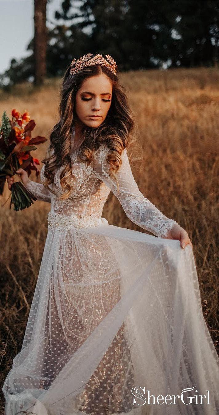 Polka Dot Boho Brautkleider böhmisches Hochzeitskleid aus Spitze mit Ärmeln AW…