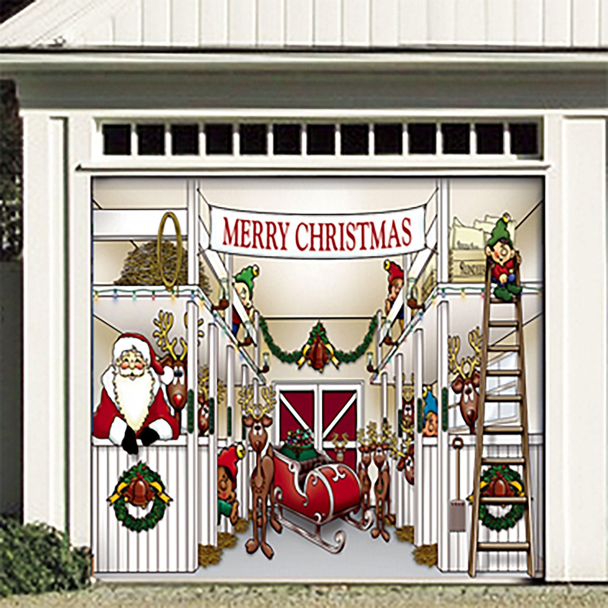 7 X 8 White And Red Santa S Reindeer Single Car Garage Door Banner In 2021 Garage Door Christmas Decorations Christmas Door Decorations Outdoor Christmas Decorations