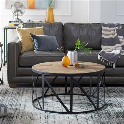 Best This Round Metal And Wood Drum Shaped Coffee Table Is All 640 x 480