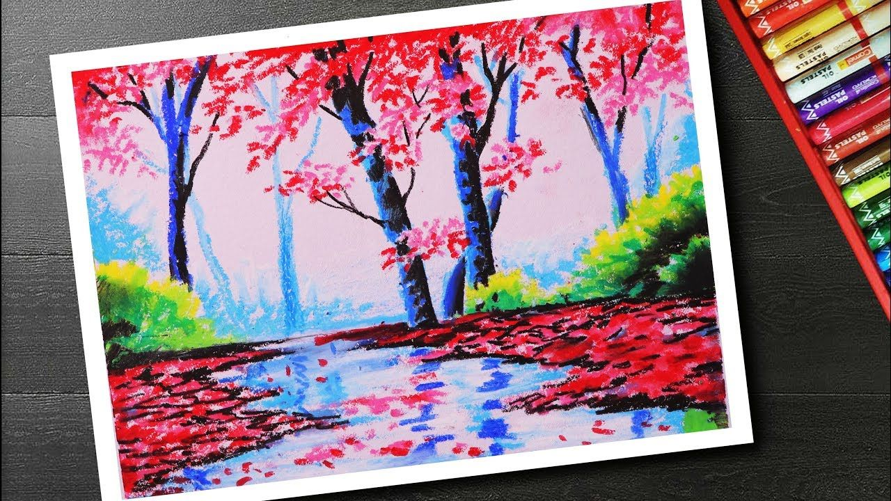 How To Draw Spring Season Landscape Drawing And Painting With Cherry Blossom Tree Step By Step Oil Pastel Landscape Oil Pastel Drawings Oil Pastel Paintings
