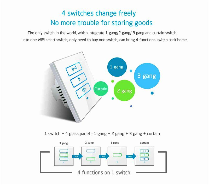 Lanbon Remote Control By Phone APP Smart Touch WiFi curtain Switch