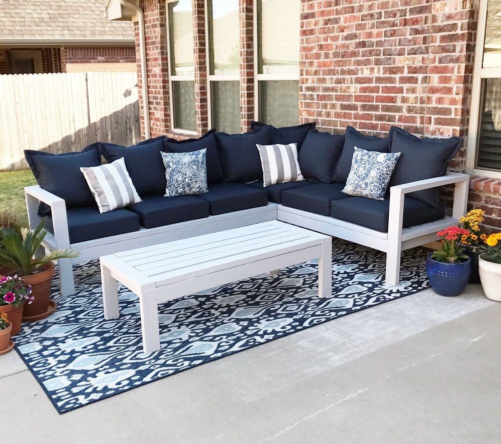 7x7 Outdoor Sofa in 7070  Outdoor sofa diy, Diy patio furniture
