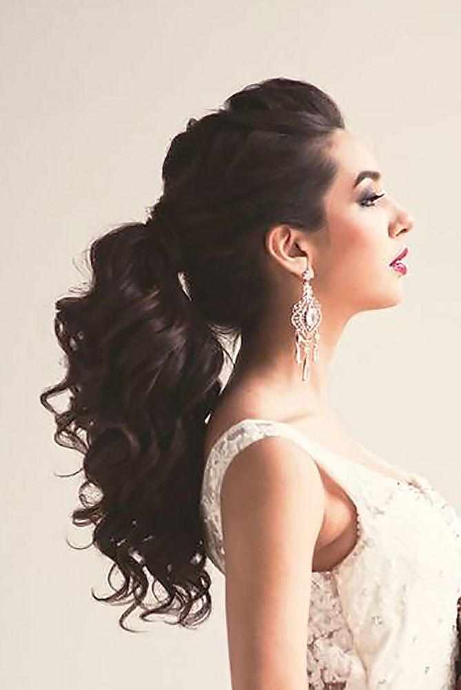 18 Party Perfect Pony Tail Hairstyles For Your Big Day ❤ Pony tail hairstyles are so cool. Pair it with your beautiful dress, and a wedding day atmosphere, and it becomes a gorgeous hairstyle, for a chic bride! See more: http://www.weddingforward.com/pony-tail-hairstyles/ #weddings #hairstyles