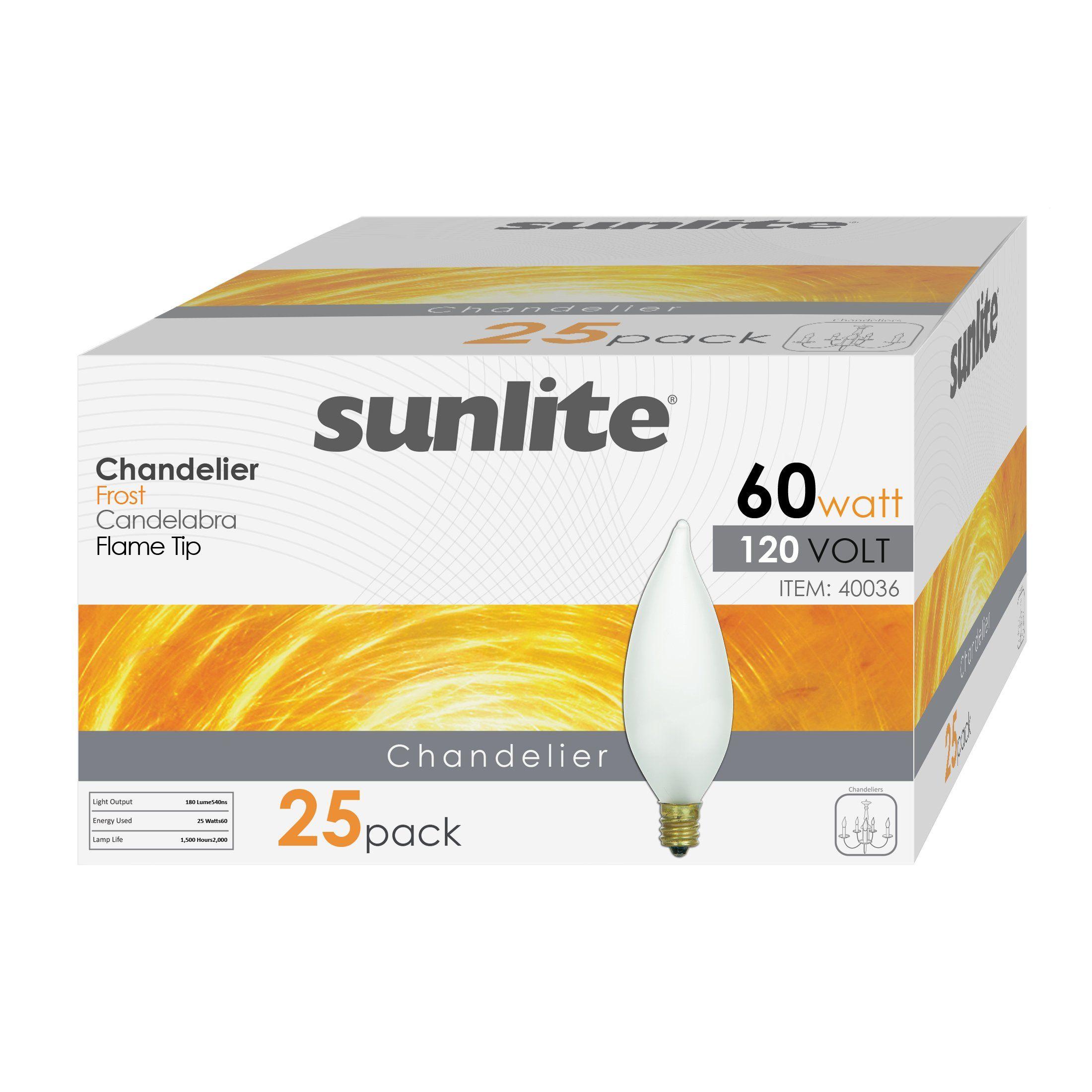 Sunlite 60CFF/32/25PK Candelabra (E12) Base Flame Tip 60W Incandescent Chandelier Frosted Bulb (25 Pack)