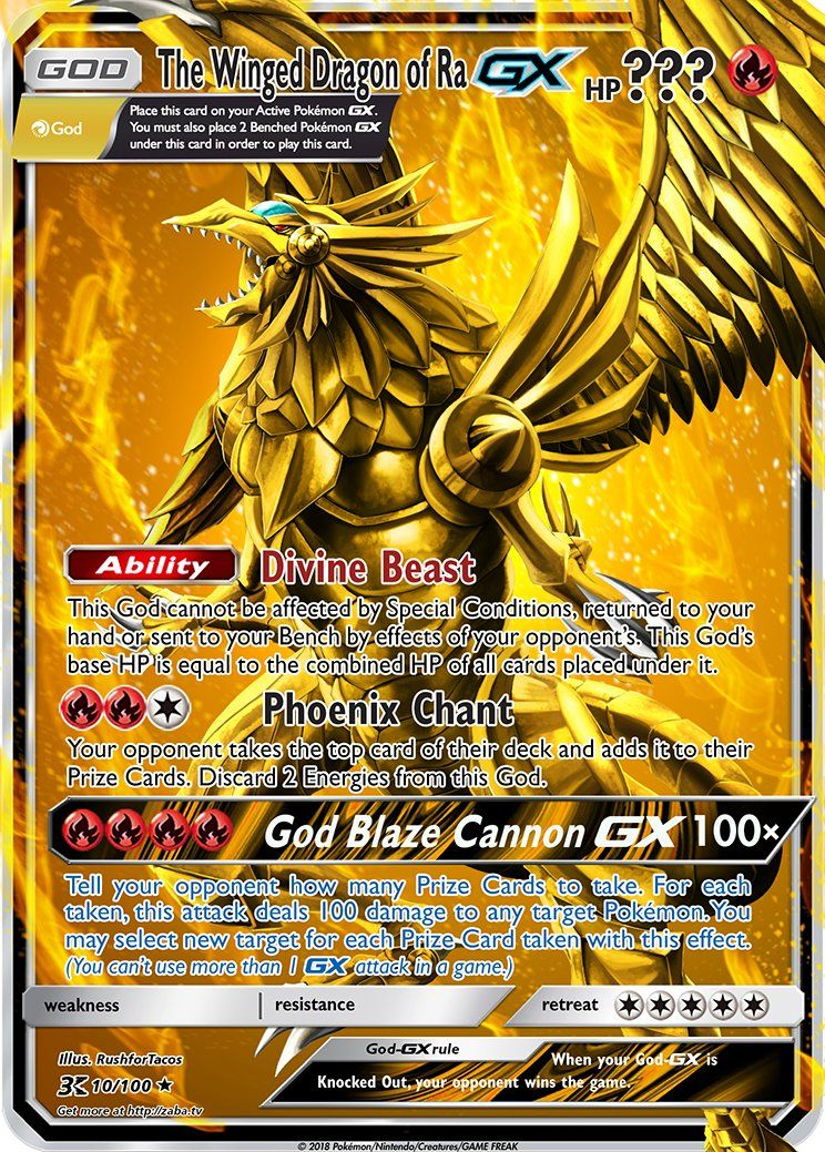 The Winged Dragon Of Ra Gx Pokemon Yu Gi Oh God Card Crossover