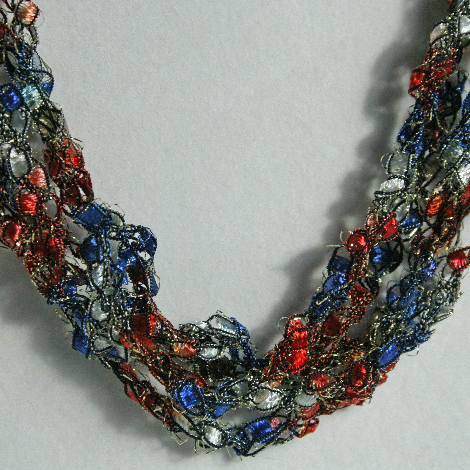 SALE  America - Crocheted Necklace. $8.00, via Etsy.