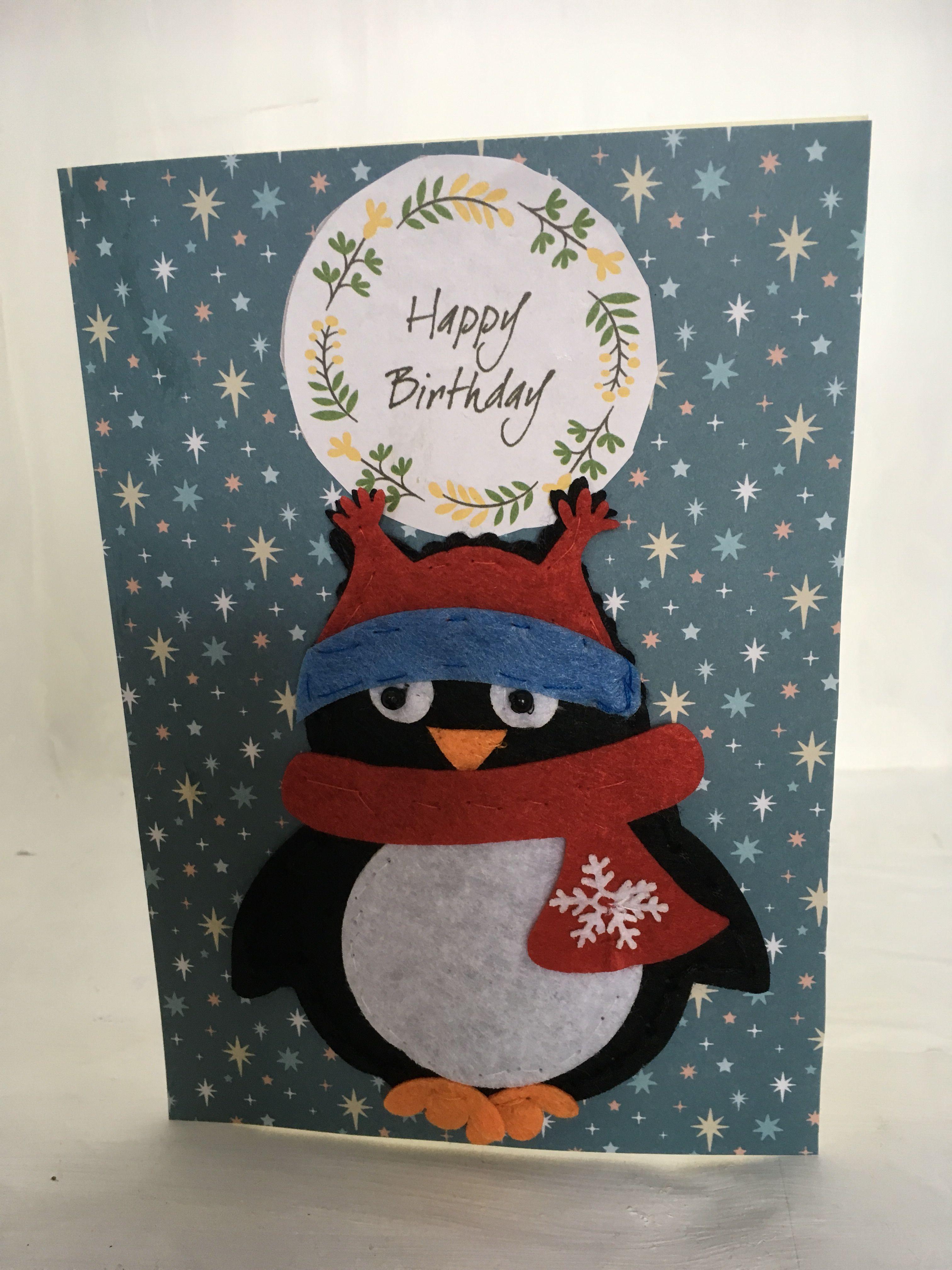 Winter Felt Sew Good Birthday Card Greeting Cards Pinterest