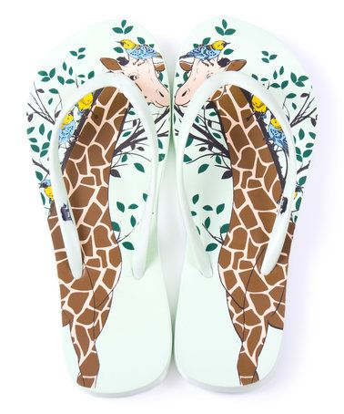 dca1ea220c57c6 Another great find on  zulily! Green Giraffe Flip-Flop - Women ...