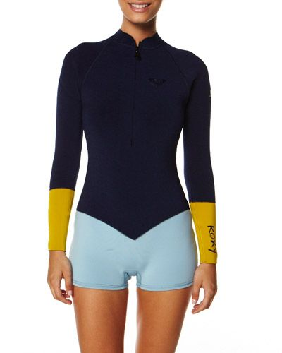 SURFSTITCH - SURF - WETSUITS - WOMENS SPRING SUITS - ROXY 2MM LS FRONT ZIP  SPRINGSUIT - BLUE c85692a8b
