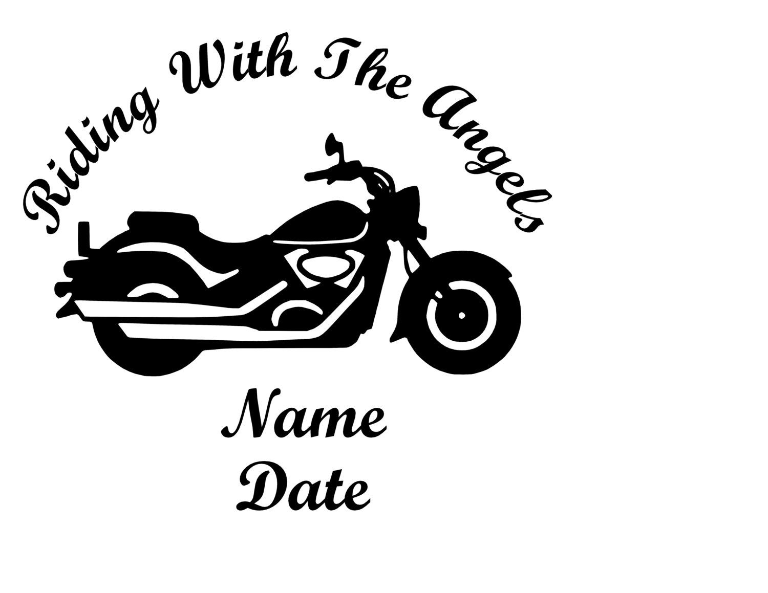 Riding With The Angels Motorcycle Sticker Vinyl Decal