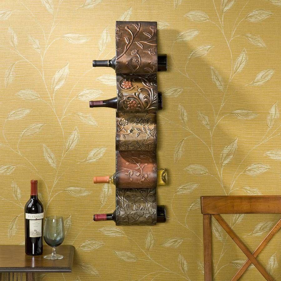 Tuscan embossed metal wall mount wine rack wall art home decor