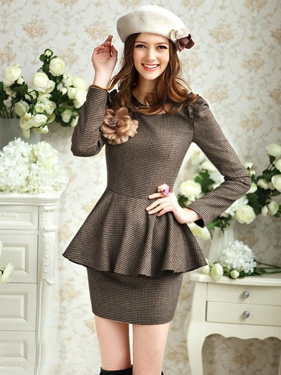 e4f3665f1c1 Morpheus Boutique - Brown Stripe Long Sleeve Trendy Pleated Bow Dress