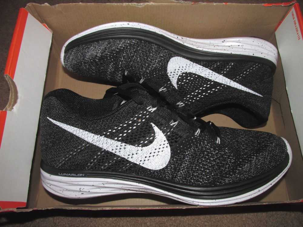 65325c8bd935 Nike Flyknit Lunar3 Mens Running Shoes 11 Black White Fog Grey 698181 010  Oreo…