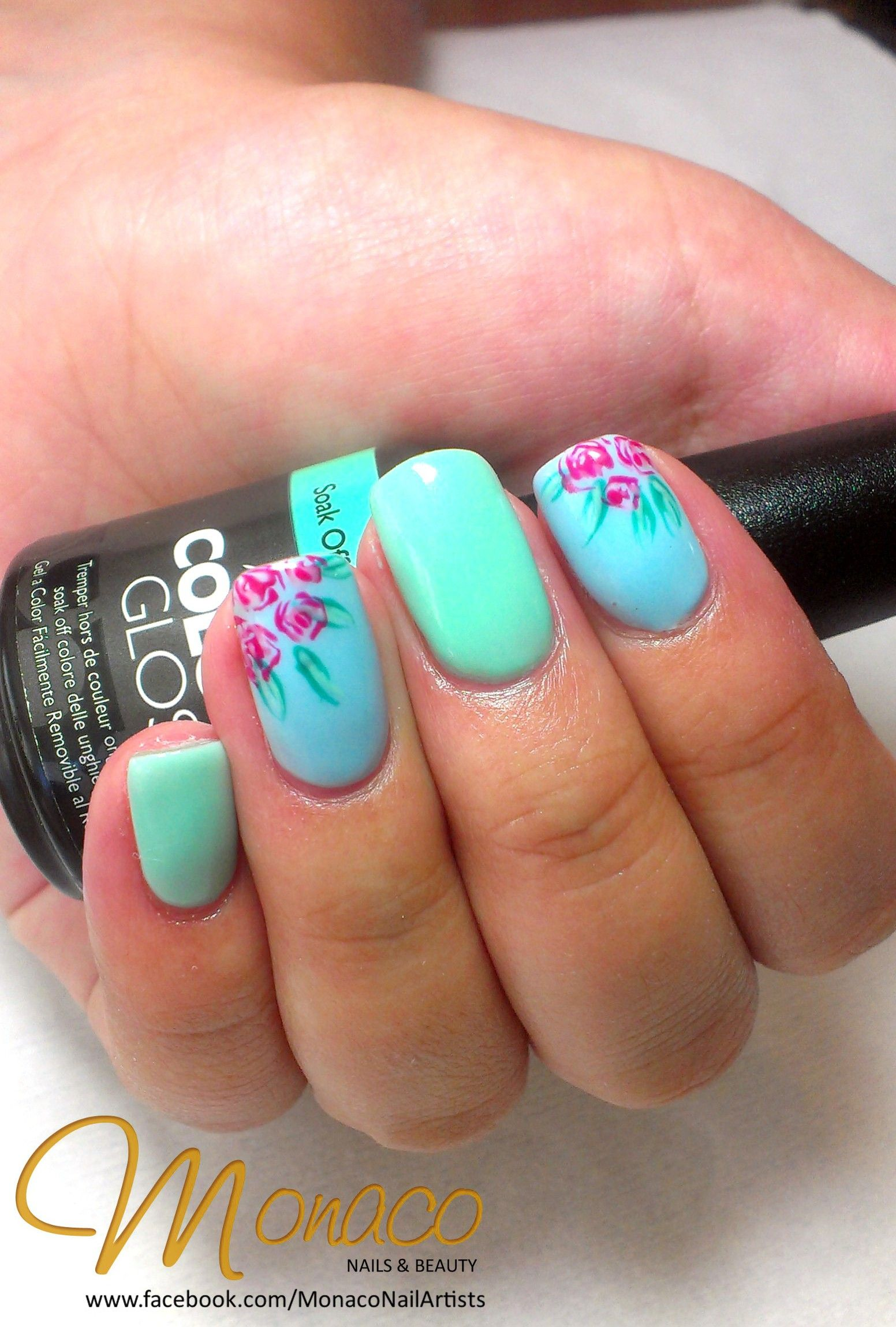 Floral NailArt on a pastel ColourGloss base for Naomi