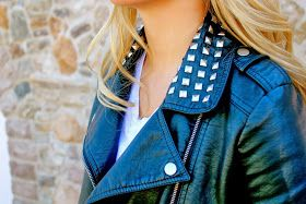 A Glitter Affair: Studded leather jacket. Perfect for fall