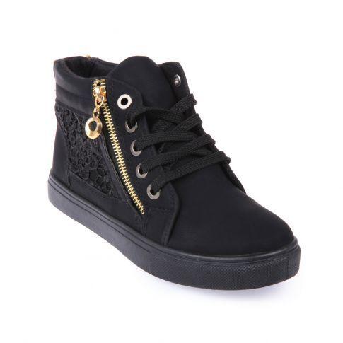 Chaussures baskets montantes dentelle   zip femme pas cher noir ... dee897ec2889