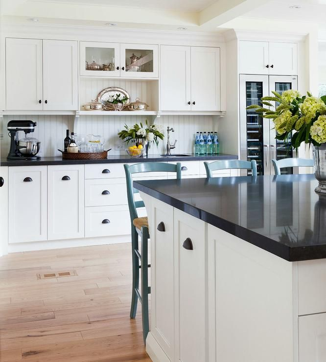 Two Tone Black And White Kitchen Features Off White Cabinets With
