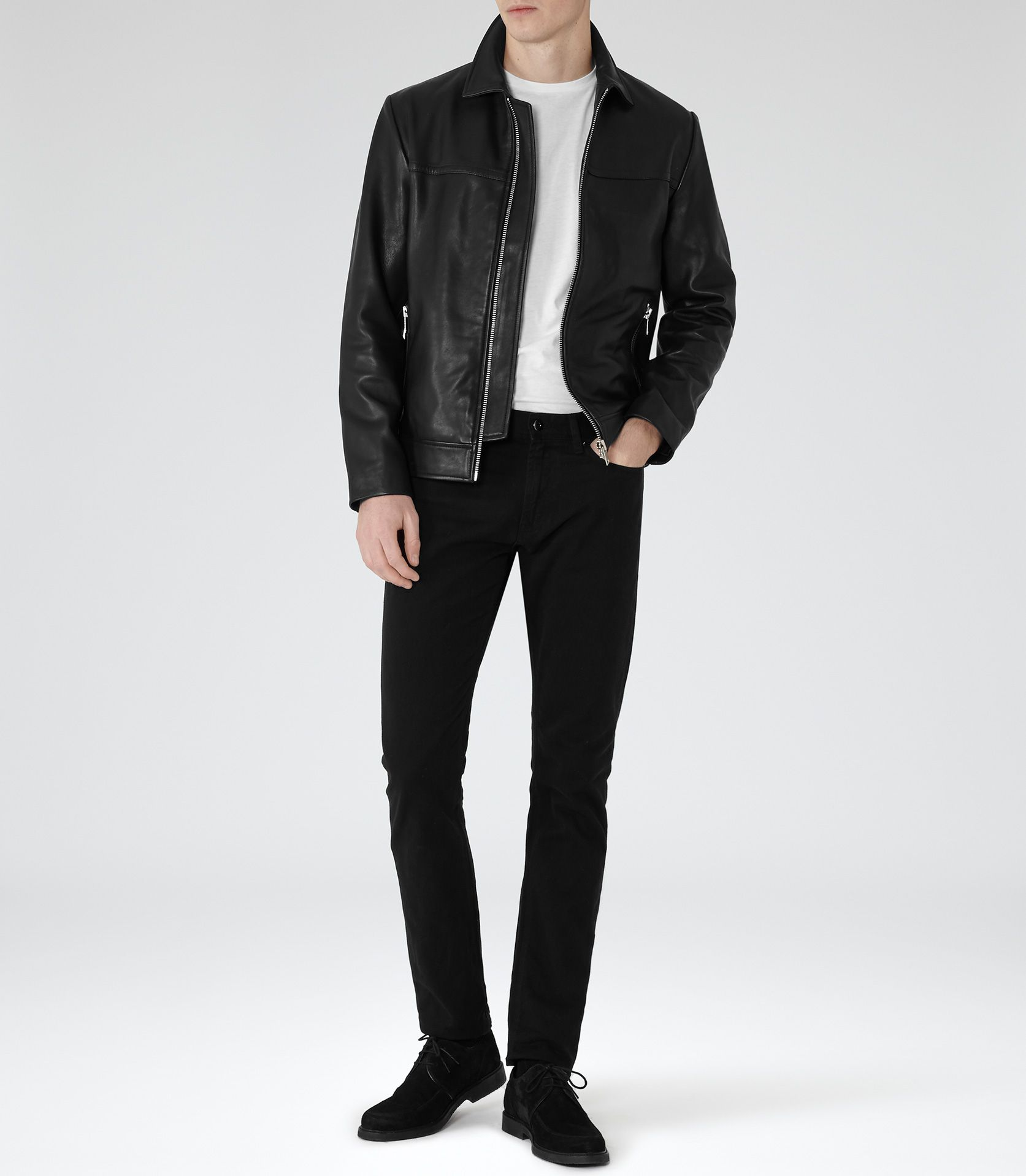 Leoni Black Zip Leather Jacket Leather Jacket Zipped Leather Jacket Mens Clothing Styles [ 1918 x 1673 Pixel ]