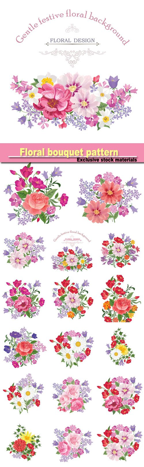 Floral bouquet pattern, vintage vector card with flowers 꽃