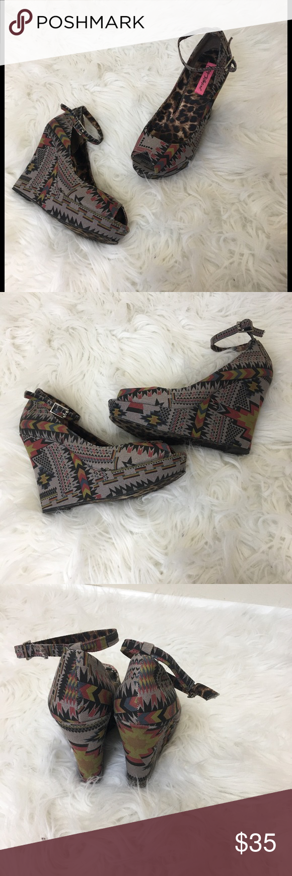 """Betsy Johnson Aztec Wedge Sandal Betsy Johnson multicolor Aztec Wedge. Size 9. Heel height is 5"""" inches. Minor signs of wear around toes. Very good condition. Betsey Johnson Shoes Wedges"""