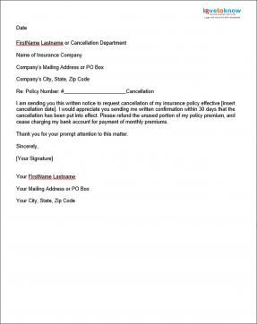 Sample Insurance Cancellation Letter Lettering Letter Sample