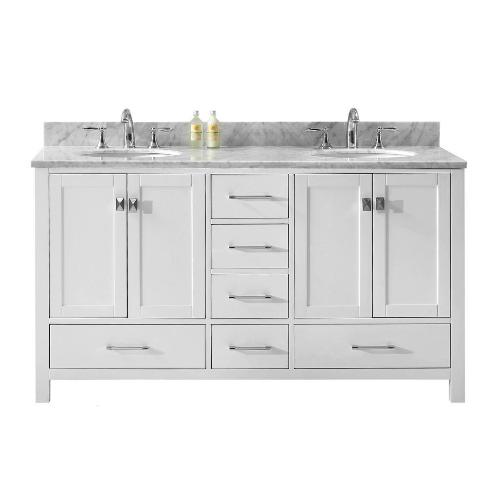 Virtu Usa Caroline Avenue 60 In W Bath Vanity In White With