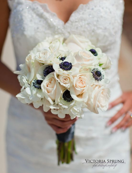 white anemones wedding flowers | ... Bouquet | Black and White ...