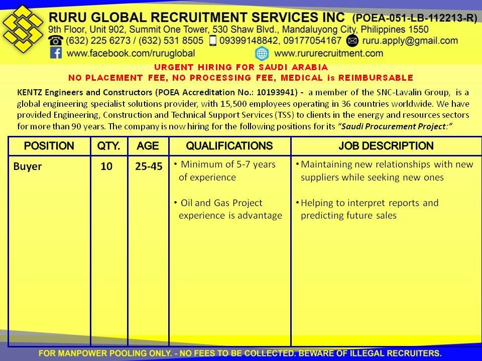 Kentz Saudi Arabia Hiring for Buyer and Material Controller Buyer 25
