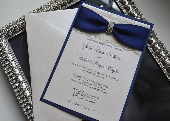 julia - glamour lace wedding invitation - navy blue and ivory lace, Wedding invitations