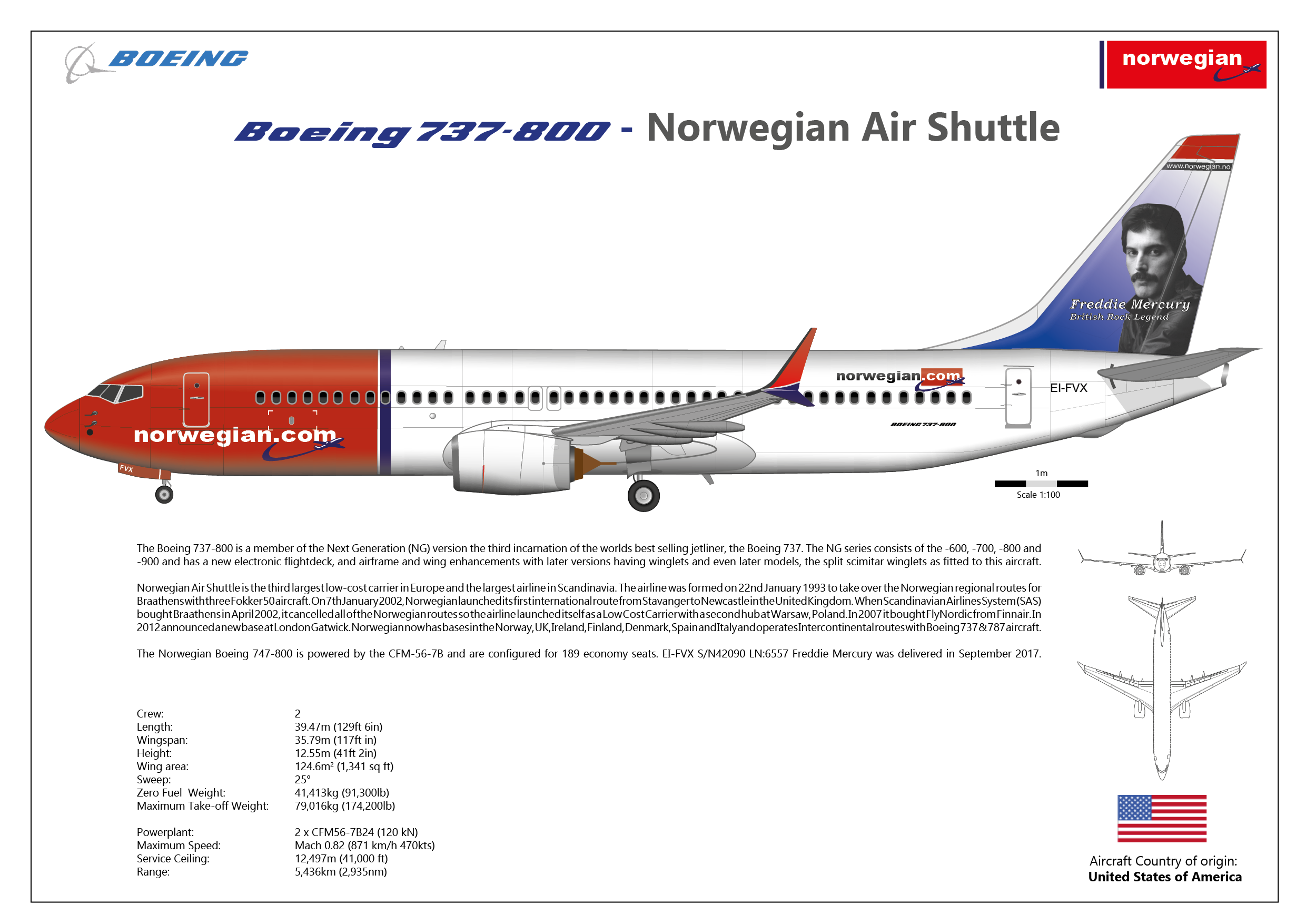 Norwegian Airlines Boeing B737-800 Freddie Mercury Livery Illustration Print