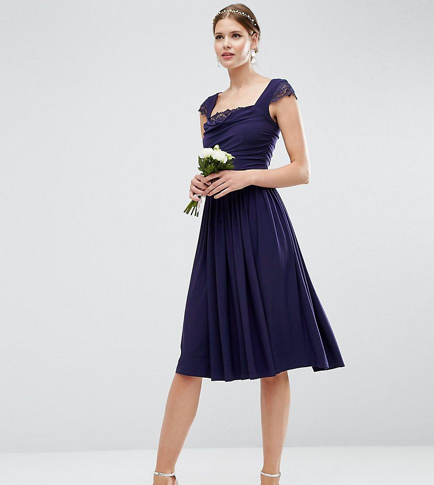 Asos tall wedding lace insert cowl midi dress navy products