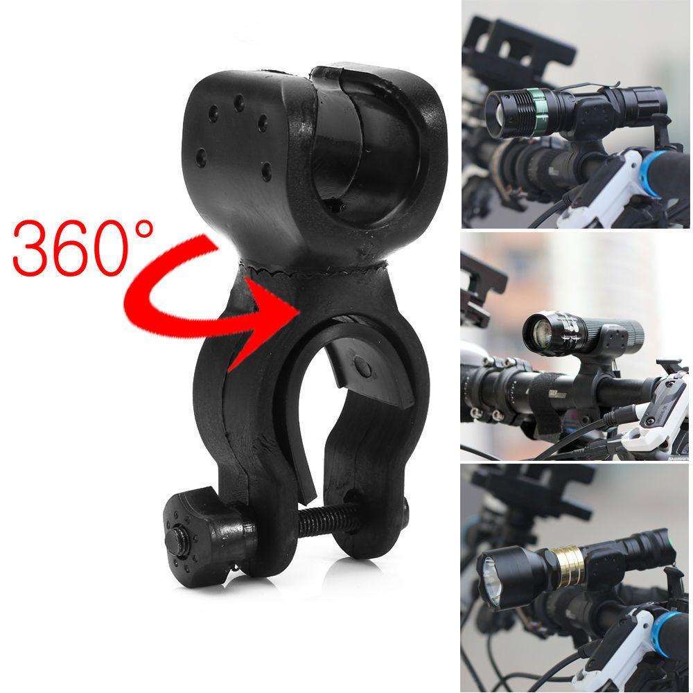 360°Rotation Torch Clip Mount Bike Bicycle Front Light Bracket Flashlight Holder