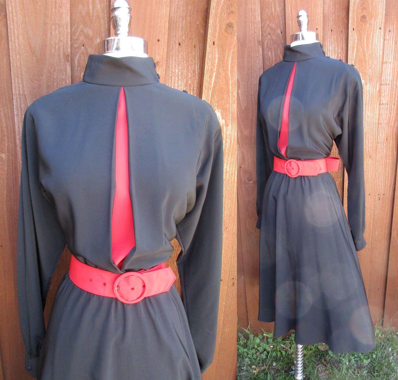Caron s black u red dress little black dress w high collar
