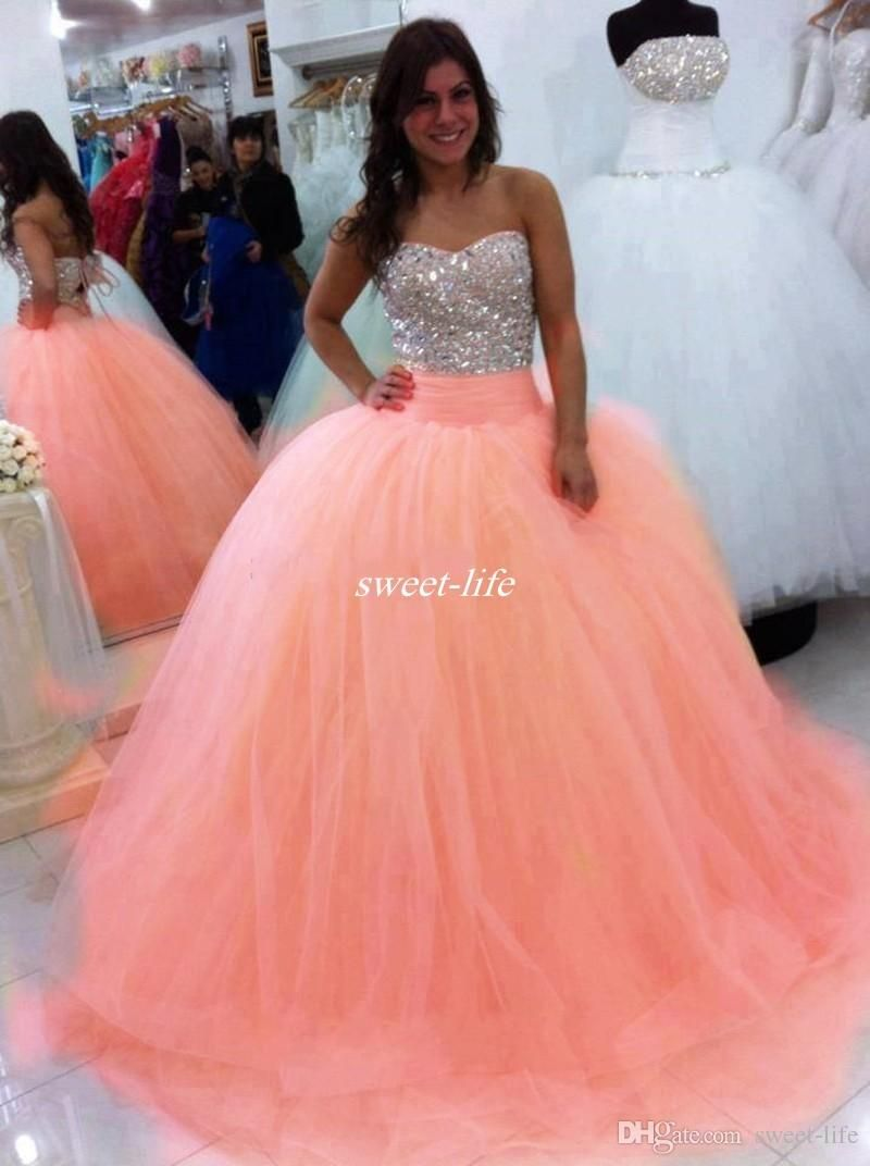 2017 Sparkly Beading Crystals Quinceanera Dresses Strapless ...