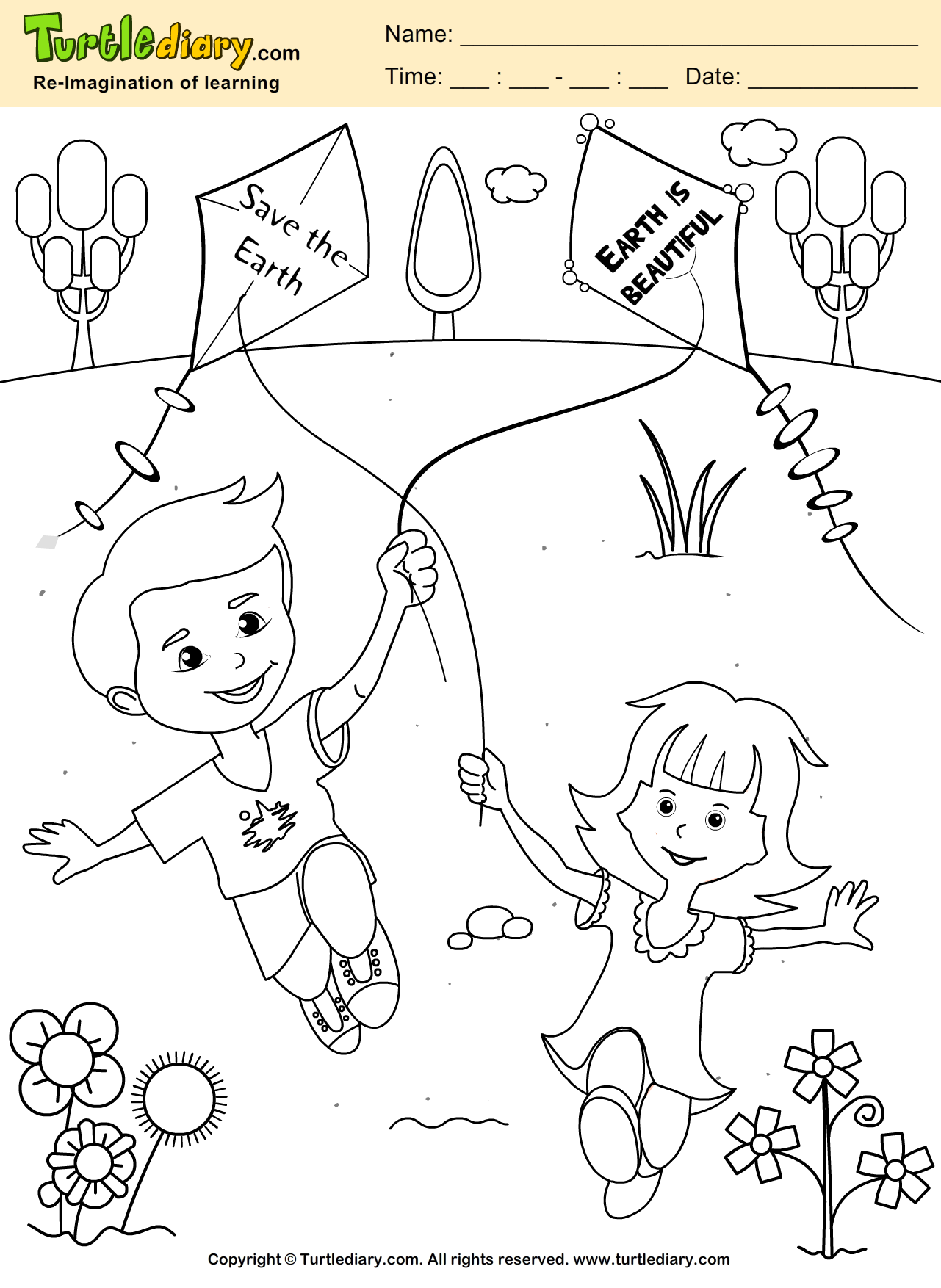 Save The Earth Coloring Page Kids Crafts Coloring