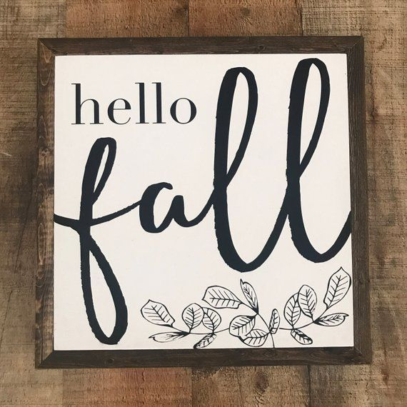 Hello Fall Sign Fall Wood Sign Autumn Sign #hellofall