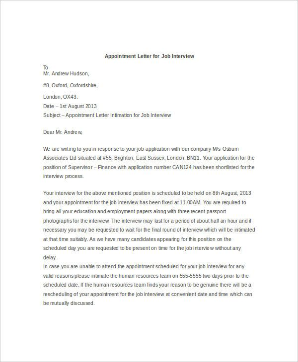 appointment letter template examples free amp premium templates