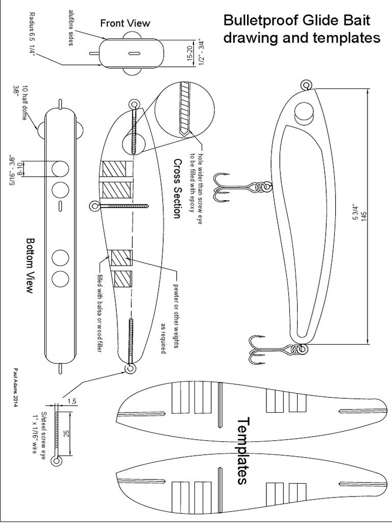Bulletproof Glide Bait Drawing and templates to accompanythe