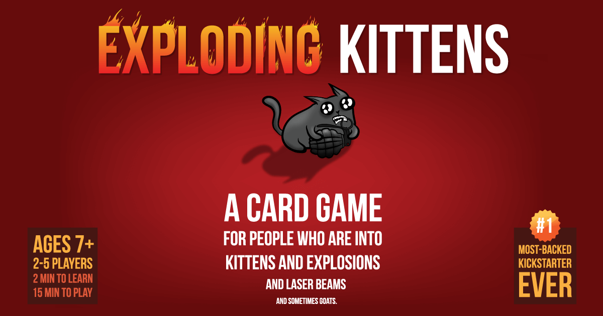 Exploding Kittens Is A Highly Strategic Kitty Powered Version Of Russian Roulette Players Draw Cards Exploding Kittens Exploding Kittens Card Game Card Games